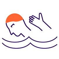 Icon illustrating swimming exercise