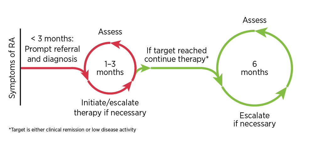 A patient with suspected RA should be referred promptly to a rheumatologist, and diagnosis and treatment initiated within the 3-month 'window of opportunity'. Assess disease activity regularly (every 1–3 months), with the rheumatologist escalating DMARD treatment if required, until the target of clinical remission or low disease activity is reached. After the target has been reached, less regular assessments are still required (every 6 months), with the rheumatologist modifying the treatment if necessary, to maintain the treatment target.