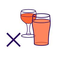 Icon illustrating avoidance of alcohol